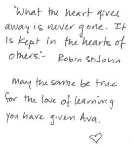 Ava Jones Love of Learning